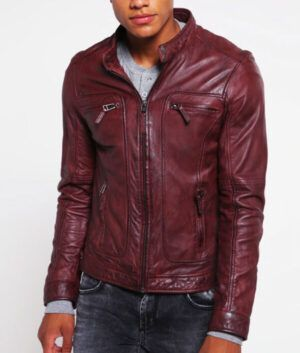 Mens Burgundy Cafe-Racer Jacket
