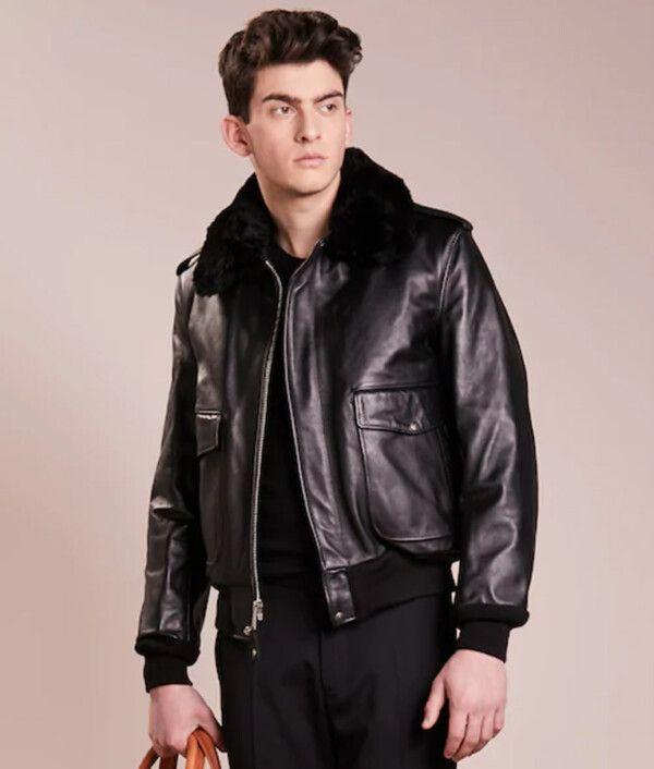 Mens Black Bomber Leather Jacket