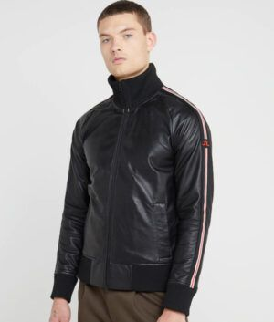 Mens Black Slimfit Bomber Jacket