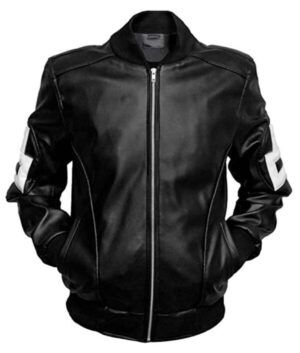 8 Ball Leather Bomber Style Black Jacket